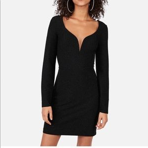 Sweetheart Plunging Neckline Long Sleeve Sparkle